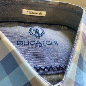 Men's Bugatchi checkered blue button down